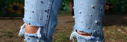 Jeans decorazioni perline